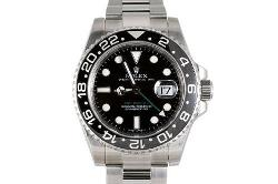Rolex  - Mens Stainless Steel Gmt II Black Dial