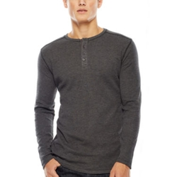 Michael Brandon - Heathered Thermal Henley Shirt