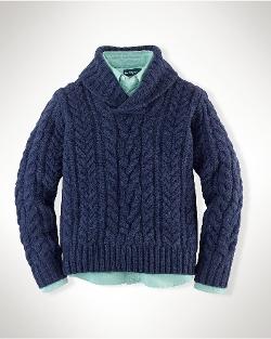 Ralph Lauren - Cotton Shawl Pullover Sweater