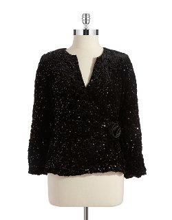 Cachet - Sequin and Velvet Wrap Top