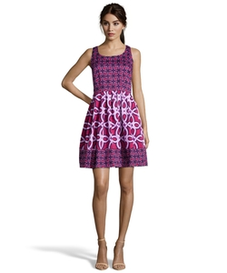 Taylor - Sangria Printed Cotton Fit & Flare Dress