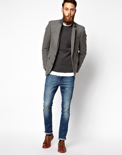 Asos - Slim Fit Blazer in Tweed