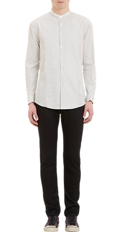 John Varvatos - Stripe Mandarin-Collar Shirt