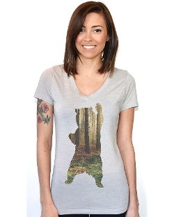 Artisan Tees - Bear In The Woods V-Neck T-Shirt