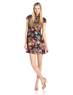 Betsey Johnson - Cap-Sleeve Printed Floral Polo Dress