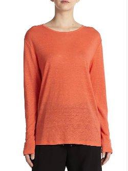 T by Alexander Wang  - Linen & Silk Slouchy T-Shirt