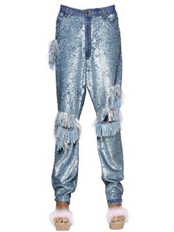 Ashish - Sequined & Fringed Cotton Pants
