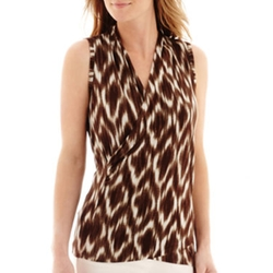 Liz Claiborne - Diamond Print Faux-Wrap Tank Top