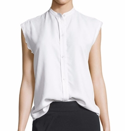 Helmut Lang  - Sleeveless Back-Knot Poplin Shirt