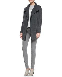Vince - Ribbed Layout Drape Cardigan with Leather Trim, Heather Gray