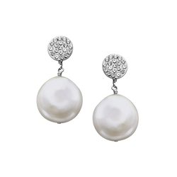 Aya Azrielant - Coin Pearl Drop Earrings
