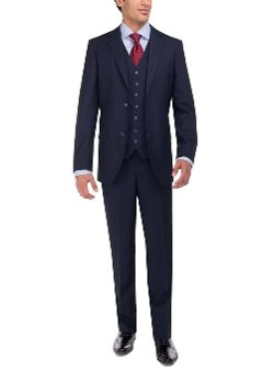 Luciano Natazzi - Three Piece Modern Fit Vested Suit