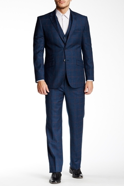 English Laundry  - Windowpane Two Button Wool Three Piece Suit