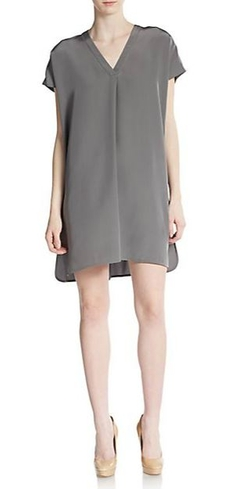 Vince  - V-Neck Silk Shift Dress