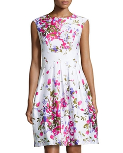 Chetta B   - Floral Sleeveless Fit-And-Flare Dress