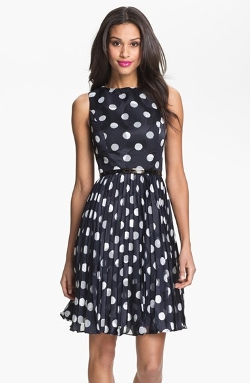 Adrianna Papell  - Burnout Polka Dot Fit & Flare Dress