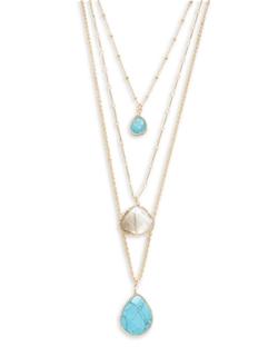 Cara - Layered Stone Pendant Necklace