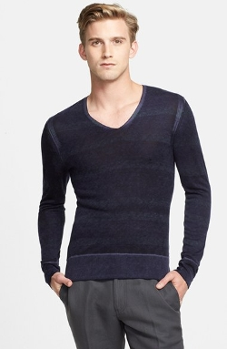 John Varvatos Collection - Dip Dye Silk & Cashmere V-Neck Sweater