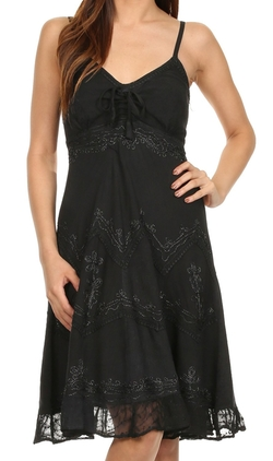 Sakkas - Spaghetti Straps Mid Length Dress