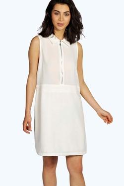 Boohoo  - Natasha Zip Detail A-Line Shift Dress