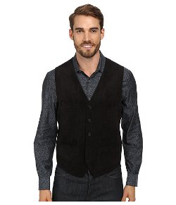 Perry Ellis  - Solid Textured Velvet Five Button Vest