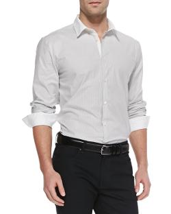 John Varvatos Star USA   - Fine-Stripe Sport Shirt