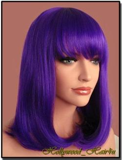Hollywood_hair4u  - Shoulder Length Purple Bob Heat Resistant Synthetic Wig