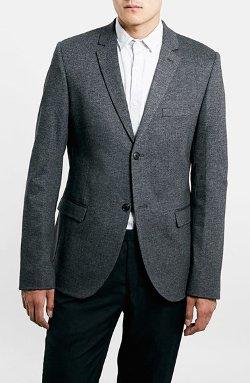 Topman - Charcoal Jersey Blazer