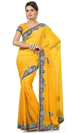 Rajwadi - Magnificent Golden Yellow Saree