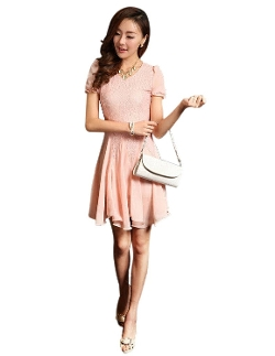 Ventelan - Puff Sleeve Slim Fit Dresses