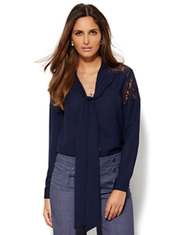New York & Company - Lace Inset Bow Blouse