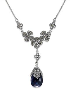 Genevieve & Grace - Teardrop & Flower Frontal Necklace