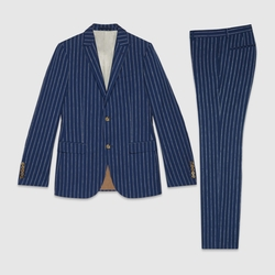 Gucci - Monaco Striped Wool Linen Silk Suit