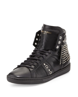 Saint Laurent - Studded-Fringe High-Top Sneakers