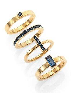 Michael Kors  - Brilliance Statement Montana Baguette & Pavé Stackable Ring Set