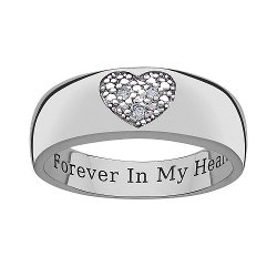 Sweet Sentiments - Sterling Silver Diamond Accent Heart Band Ring