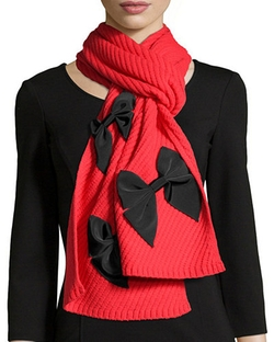 Kate Spade New York - Diagonal-Rib Bow Scarf