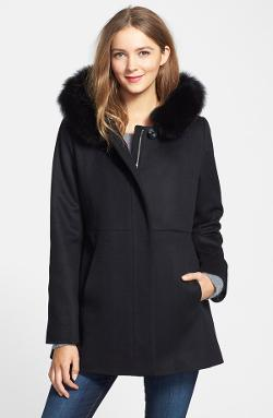 Sachi - Genuine Fox Fur Trim Hooded Wool Blend Jacket