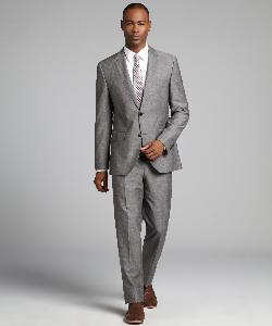 HUGO BOSS  - Grey Crosshatch Wool-Linen Blend Two Button Suit With Flat Front Pants