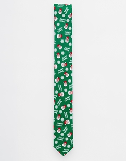Asos - Holidays Santa Head Print Tie