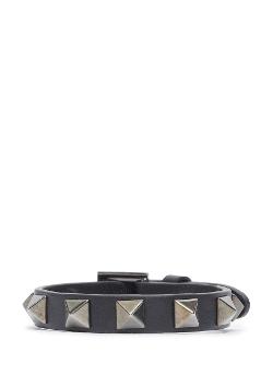 Valentino - Rockstud Noir Leather Skinny Bracelet
