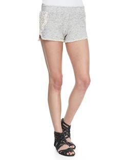 Pam & Gela  - Dolphin Crochet-Trim Jersey Shorts