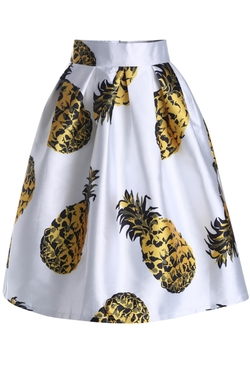 Romwe - Pineapple Print Flare Skirt