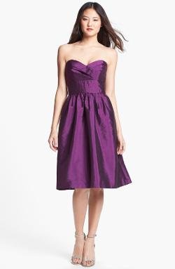 Alfred Sung  - Strapless Satin Fit & Flare Dress