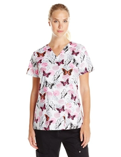 Code Happy  - Print Fit and Flare V-Neck Scrub Top