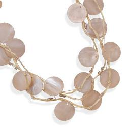 BlingLtd  - Multistrand Raffia Fashion Necklace with Glass Beads and Shell
