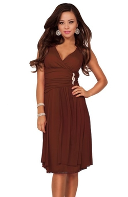 Hot from Hollywood - Sleeveless V Neck Rhinestone Sheer Layer Dress