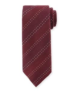 Armani Collezioni  - Stitched-Stripe Silk Tie