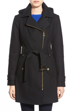 Michael Kors - Belted Hooded Wool Blend Coat