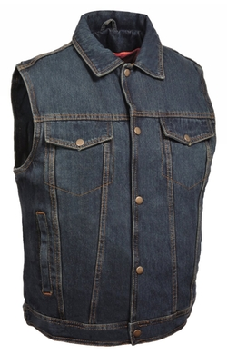 Milwaukee Leather - Mens Denim Snap Front Vest